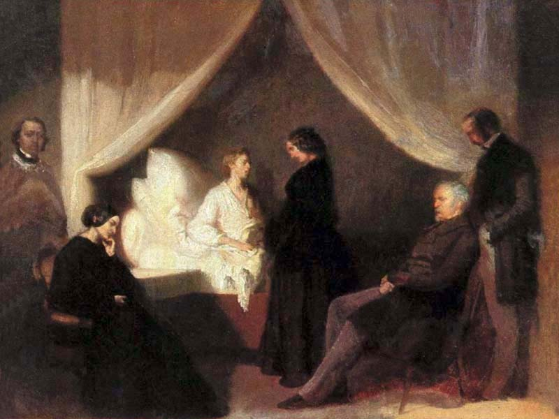 Painting of Chopin at deathbed